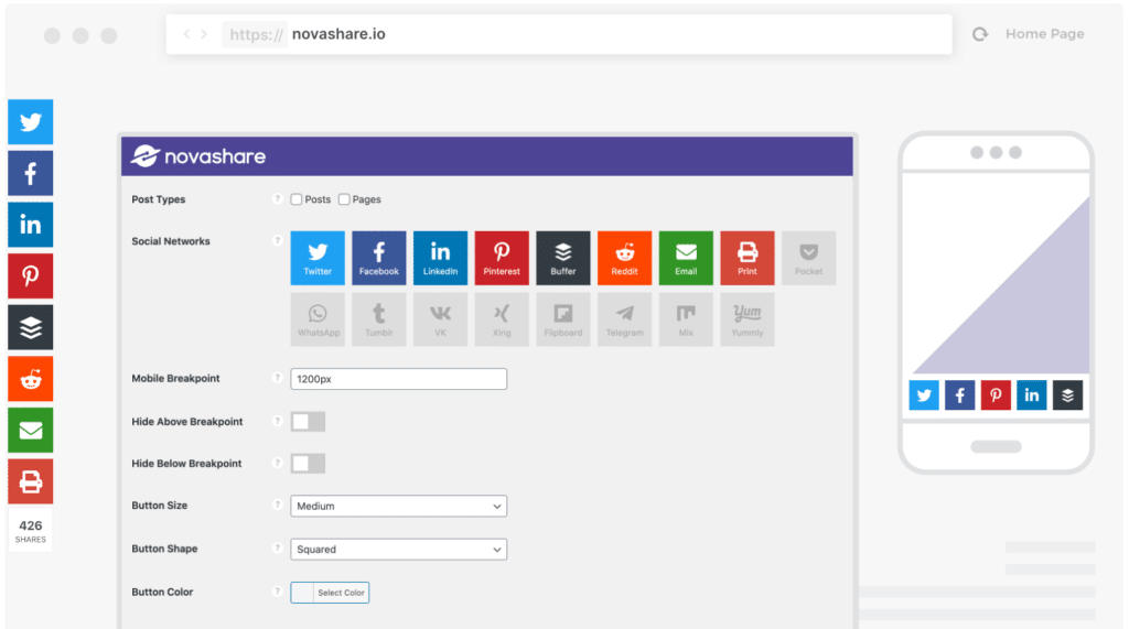 Novashare social media plugin