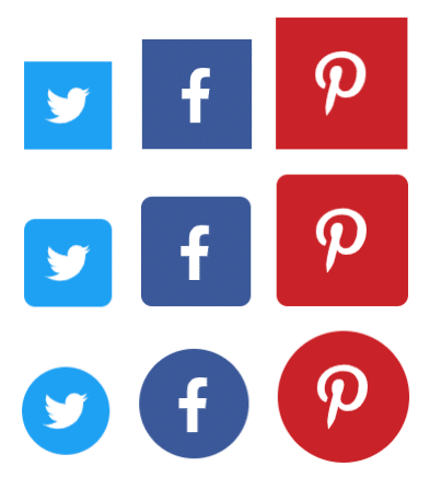 Social share button sizes and shapes