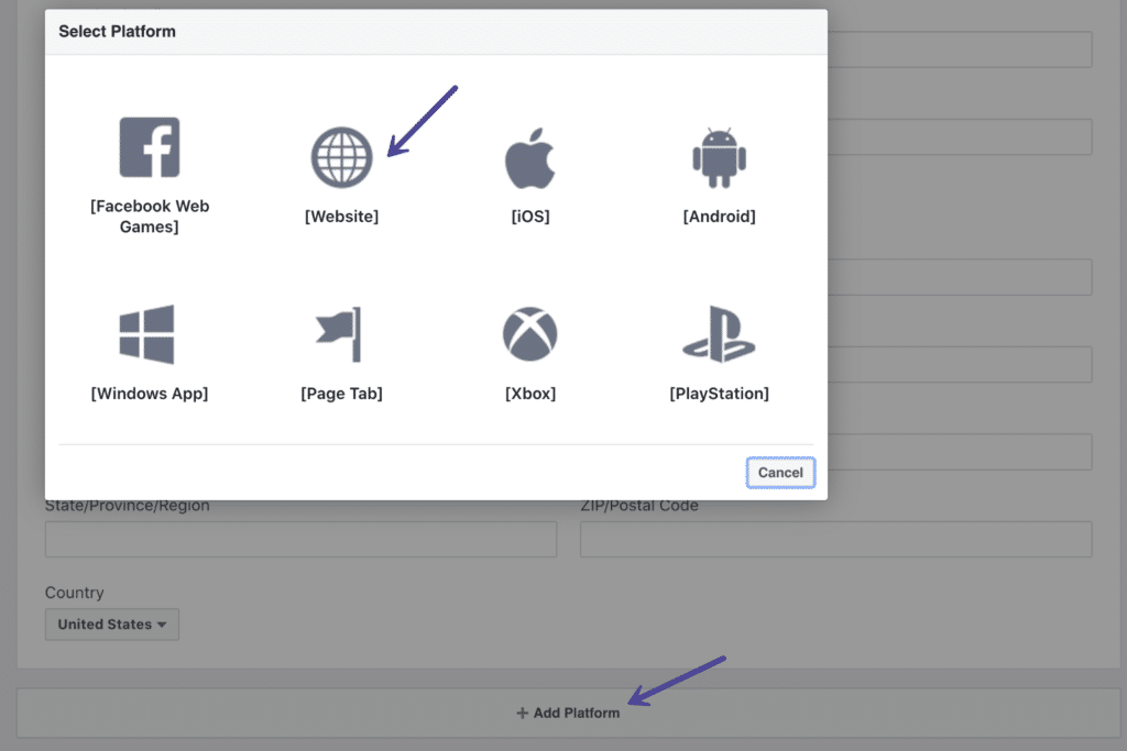 Add platform website on Facebook App