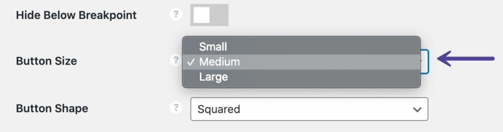 Novashare button size