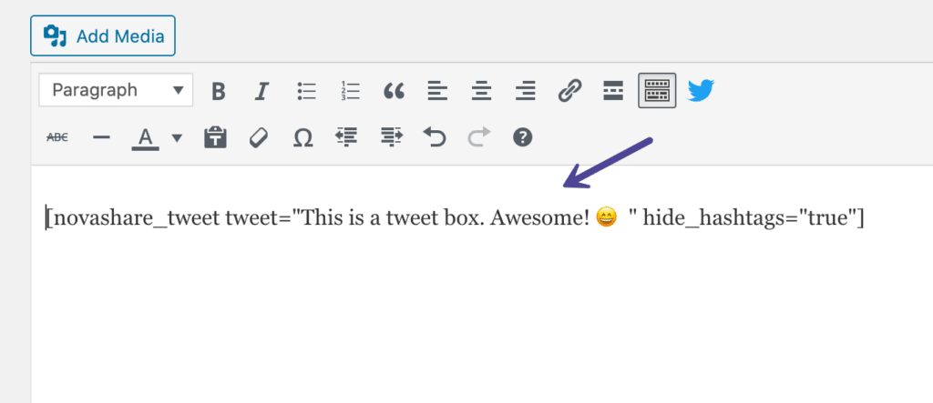 Click to Tweet shortcode in the editor