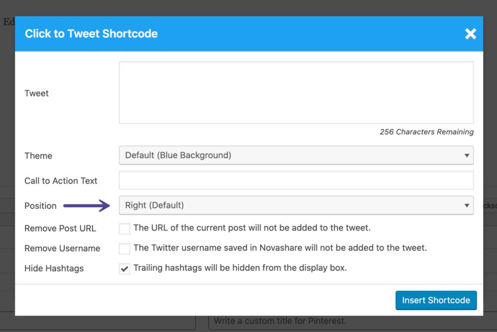 Novashare click to Tweet shortcode CTA position