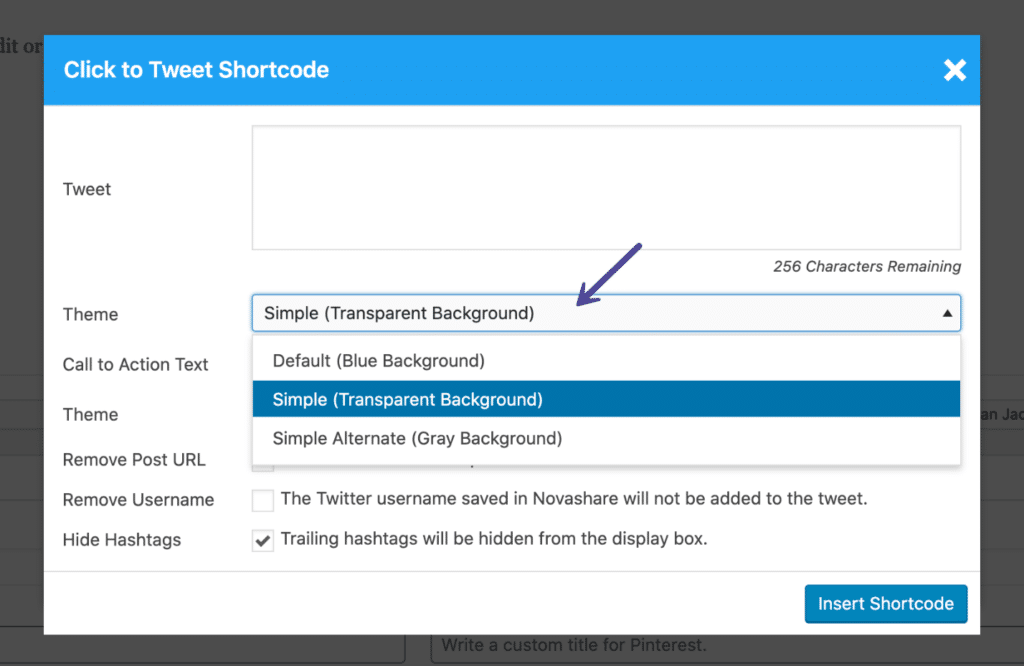 Novashare click to Tweet theme with the shortcode
