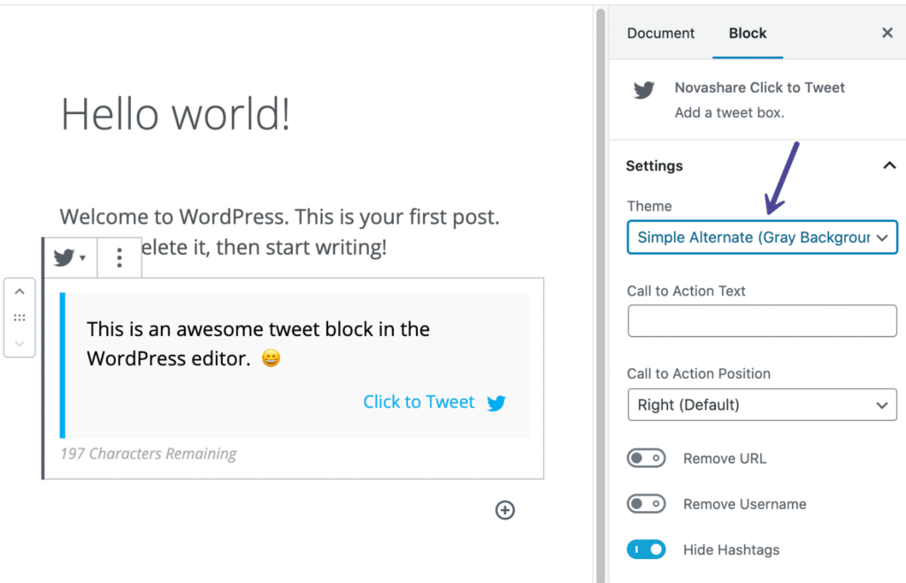 Novashare click to Tweet theme in the block editor