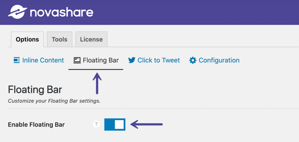 Enable floating bar social share buttons in Novashare