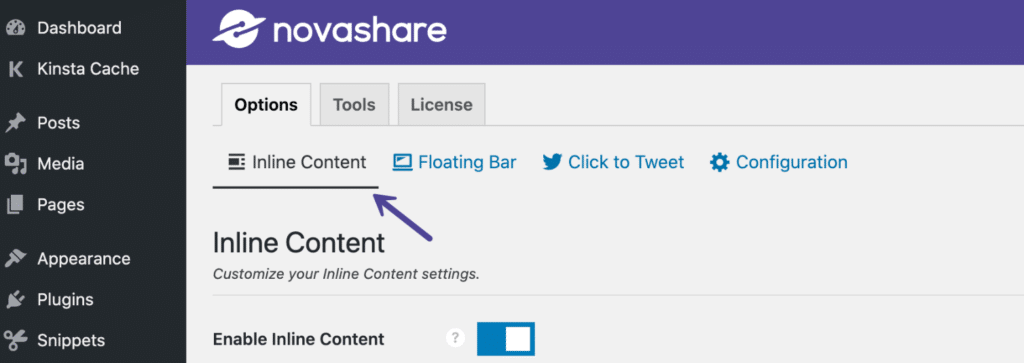 Inline Content share buttons