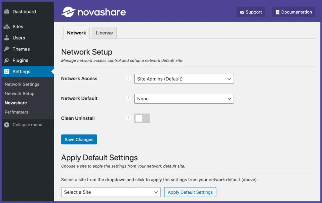 Novashare multisite support