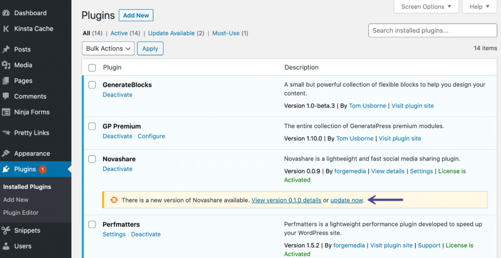 Update Novashare WordPress plugin