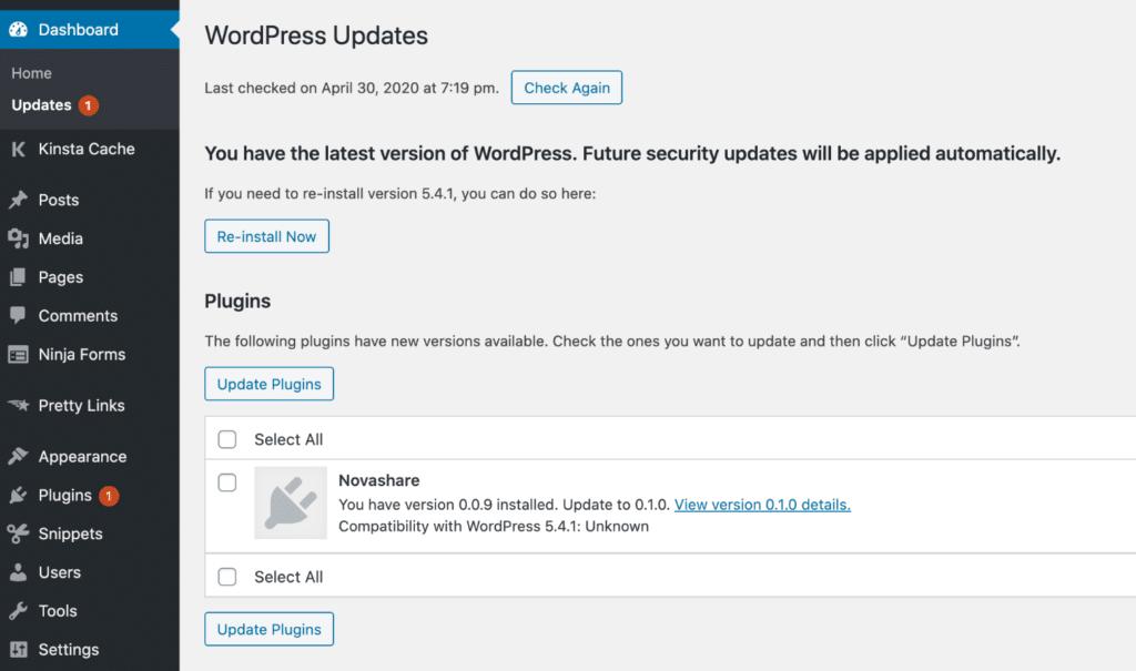 WordPress dashboard updates