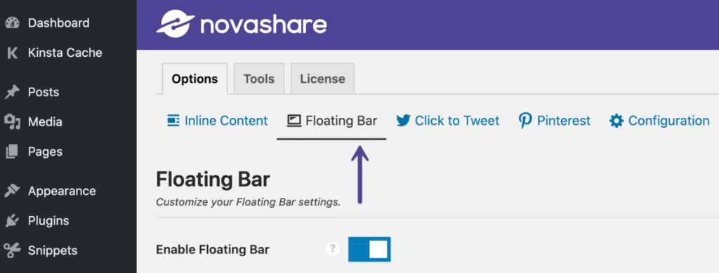 Novashare floating bar content share buttons