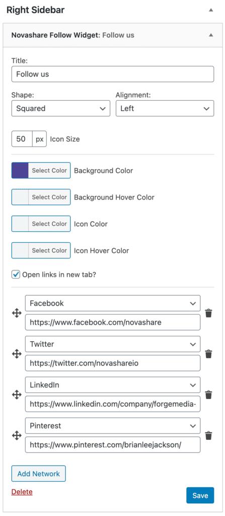 Follow widget options