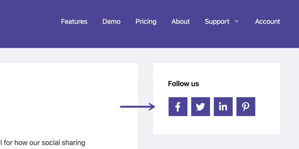 Novashare social follow widget example