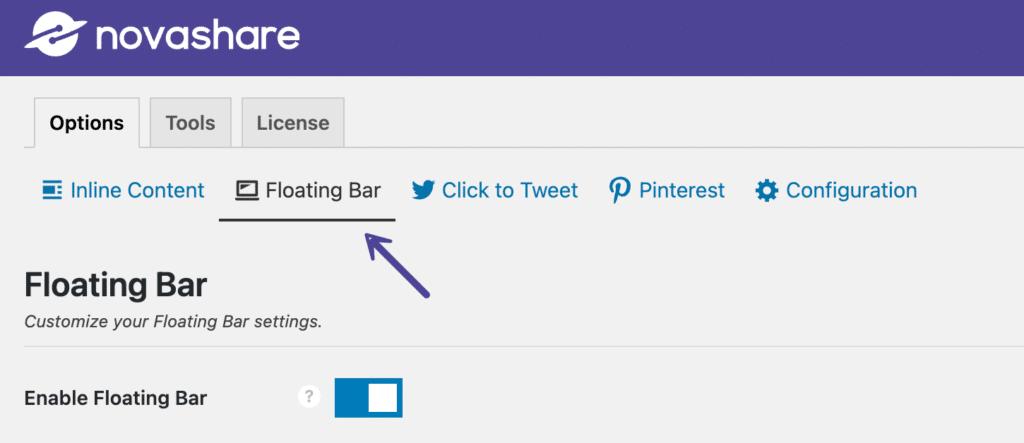 Novashare floating bar share buttons