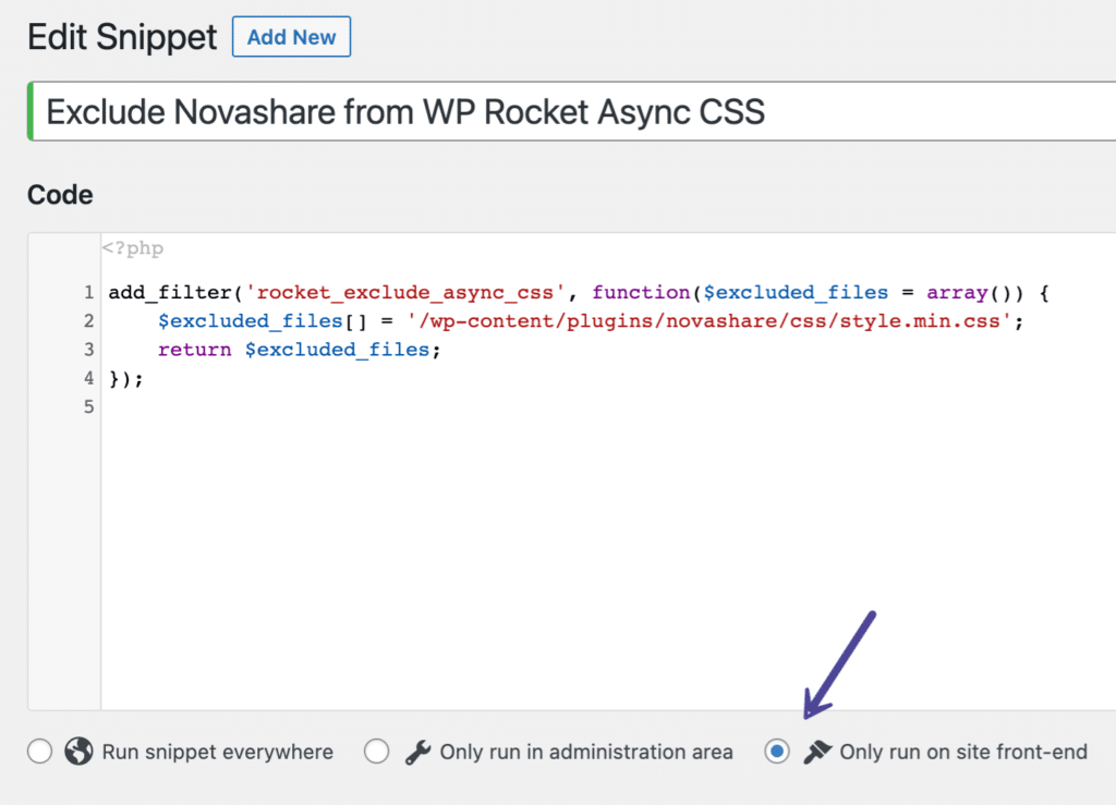 Exclude Novashare from WP Rocket Async CSS snippet