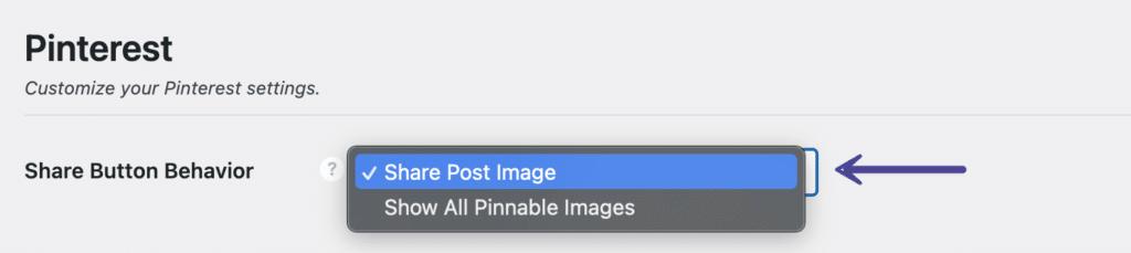 Pinterest share button behavior